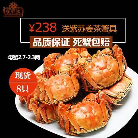 蟹轩缘 阳澄湖大闸蟹鲜活螃蟹全母蟹2.3-2.7两8只装水产品团购