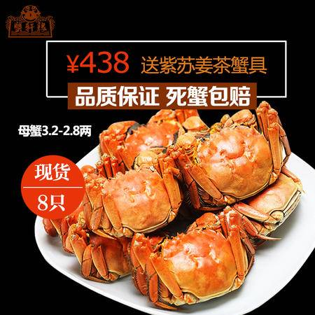 蟹轩缘 阳澄湖大闸蟹鲜活螃蟹全母蟹2.8-3.2两8只装水产品团购