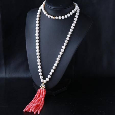 HOLY RIVER复古珍珠流苏项链名族风百搭毛衣链母亲节礼物送女朋友