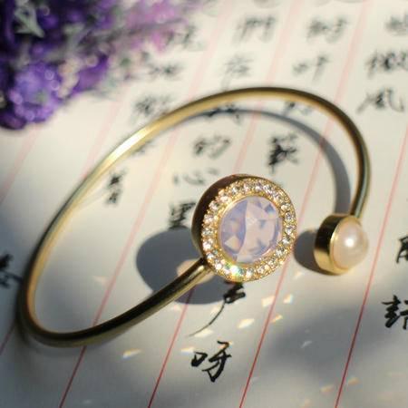 HOLY RIVER圆形切面粉色蛋白石镶嵌 错位式开口 复古铜质金属手镯