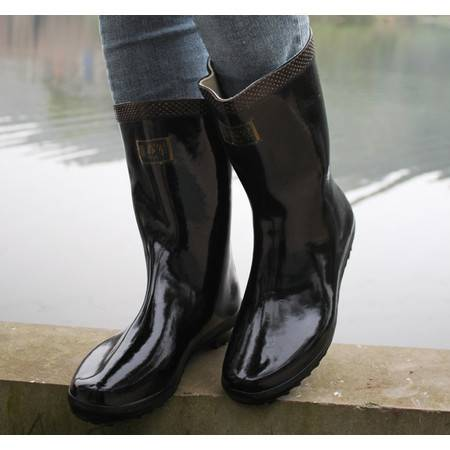3539男女士胶靴雨靴 中高筒雄军水靴防滑耐磨橡胶雨鞋黑色靴子