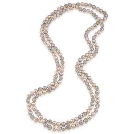 CA家外贸尾单 天然淡水珍珠淡橘色+淡紫色 水晶球毛衣链 长款项链