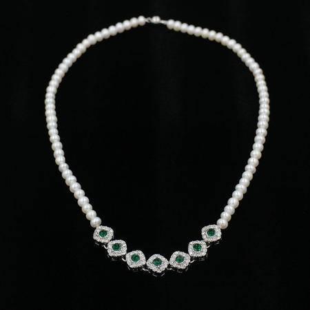 富贵宫廷风 天然淡水珍珠仿祖母绿锆石 项链 强光馒头珠