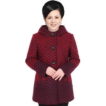 良品日记超大码中老年女装2016冬装时尚胖妈妈大码连帽羊毛外套200斤可穿