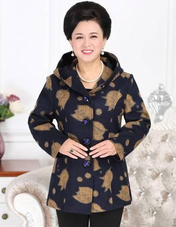 良品日记超大码中老年女装2016冬装羊毛连帽外套200斤可穿时尚胖妈妈特大码风衣