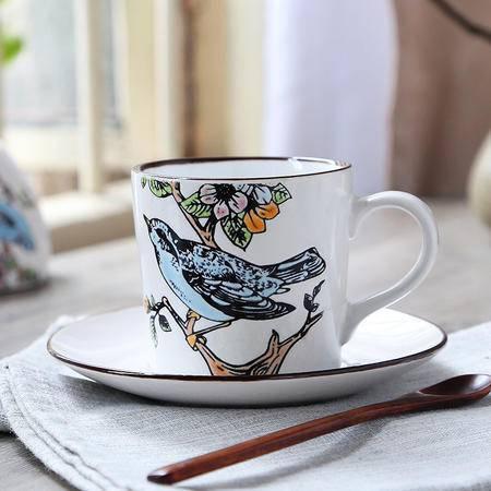 醴陵人工手绘 专业 陶瓷 咖啡杯 个性创意欧式复古简约 送勺