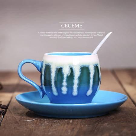 醴陵特色手绘咖啡杯碟套装 花式陶瓷杯子 个性复古创意 送勺