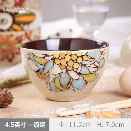 醴陵4.5寸米饭碗 手绘特色陶瓷碗个性小碗复古餐厅具套装吃早餐汤粥面