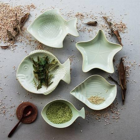 醴陵异型浮雕海洋系列餐具套装 汤盘沙拉 鱼形盘西式个性创意西餐厅