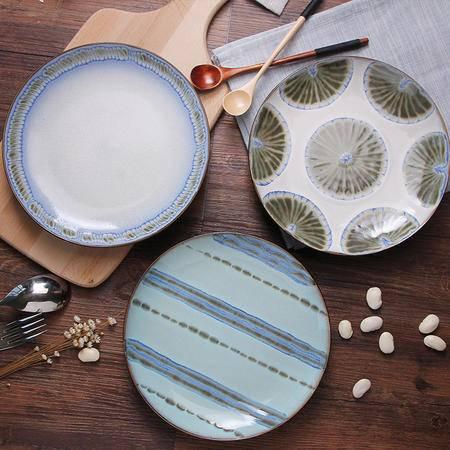 醴陵瓷彩美 手绘陶瓷盘子菜盘家用碟子个性创意装饰挂西餐盘平餐厅