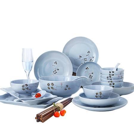 醴陵28头套装6人食 日式和风创意陶瓷餐具个性碗盘汤饭碗简约送礼家用