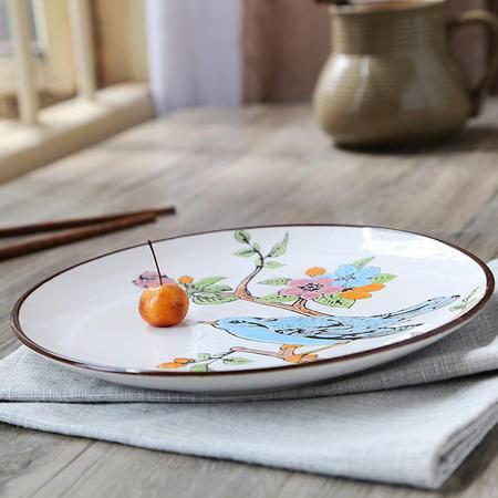 醴陵8.5寸手绘陶瓷盘子个性圆欧式西餐厅特色牛排创意套装复古平挂菜