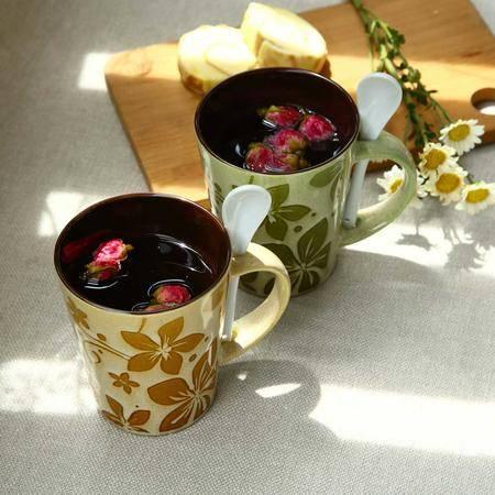 醴陵2杯2勺特色创意手绘陶瓷杯子咖啡牛奶马克杯情侣对杯饮水杯