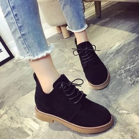 麦杜莎 秋冬季英伦风复古平底马丁靴磨砂皮单靴系带加绒女鞋短靴女靴棉靴包邮