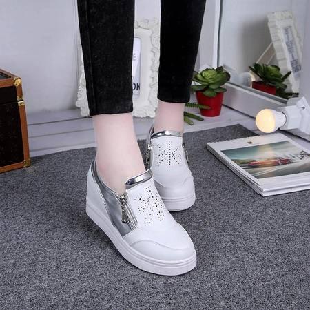 麦杜莎 秋季百搭学生内增高单鞋侧拉链坡跟厚底乐福鞋运动鞋懒人休闲女鞋包邮