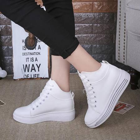 麦杜莎 潮流设计女鞋新款厚底增高系带高帮圆头休闲运动鞋学生鞋单鞋板鞋包邮