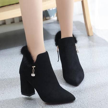 麦杜莎 短靴女百搭韩版时尚女士粗跟毛毛皮靴秋冬绒面水貂女鞋毛高跟马丁靴包邮