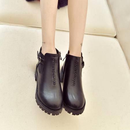 麦杜莎 2016新款英伦风复古粗跟短靴女中跟保暖切尔西靴皮带扣及踝靴子包邮潮