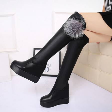 麦杜莎 2016秋冬季新款长靴瘦腿高跟厚底内增高长筒靴过膝弹力靴女靴子潮包邮