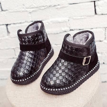 麦杜莎 2016冬季新款儿童雪地靴男童休闲棉鞋2-15岁儿童大小码短靴韩版女童加绒保暖棉靴子潮