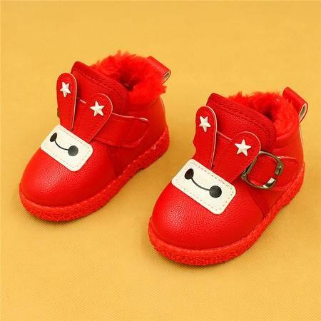 麦杜莎 宝宝雪地靴冬加厚保暖棉鞋学步鞋女童靴裸靴小童女孩软底冬1-2岁
