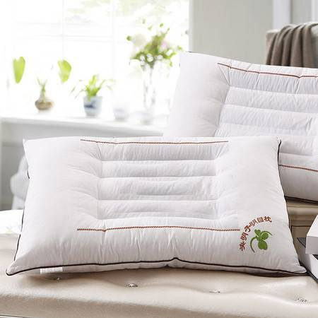 莹丽家纺单人正品决明子绣花舒适护颈助棉保健枕
