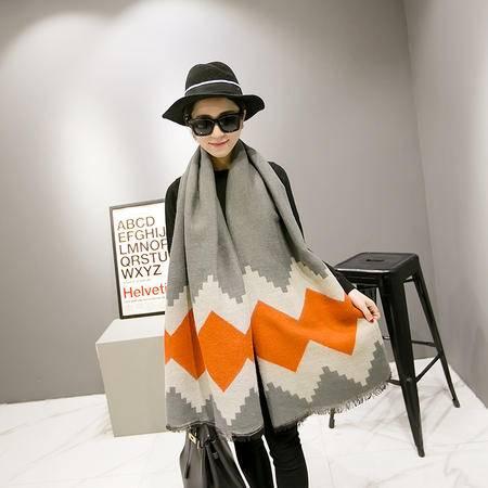 【艾的诗妮格子披肩】 韩版秋冬季时尚仿羊绒围巾披肩两用 加大加厚保暖女春夏天空调