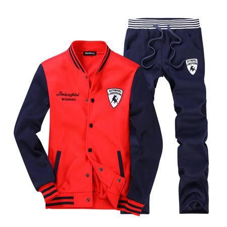华度威 2016秋装新款男装长袖T恤套装 男士韩版修身立领休闲运动卫衣衫套装MTR8864