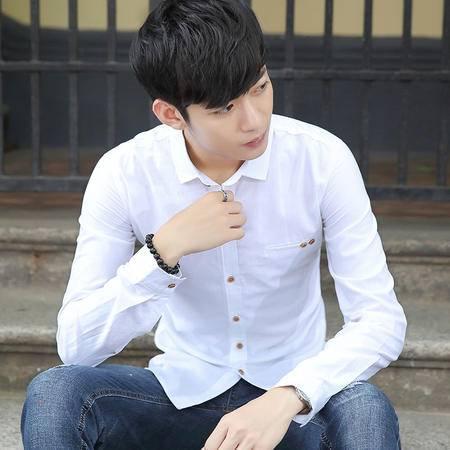 华度威 长袖衬衫男2016秋季新款时尚修身休闲衬衫男士韩版小领衬衣SLS18808