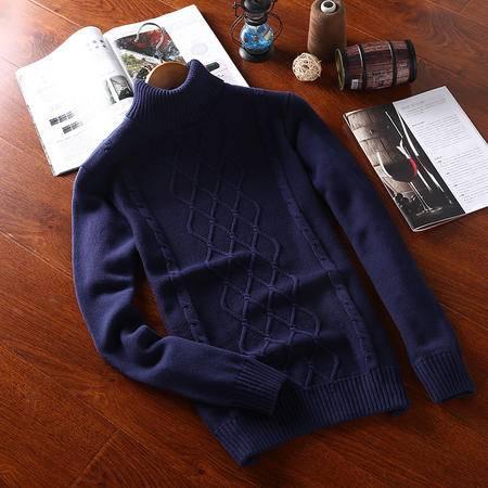 稻草人 冬季毛衣男韩版高领加厚套头针织衫圆领纯棉修身男士打底衫线衣潮 XH0260D
