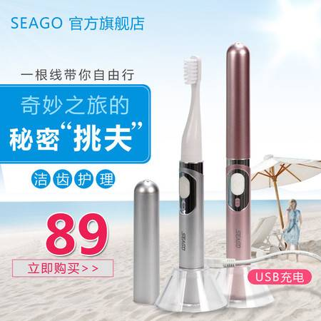 seago赛嘉 成人电动牙刷usb充电式 智能声波牙刷商务便携SG-626