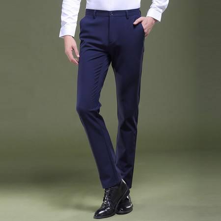CCZO 休闲裤男士春秋季青年商务修身小脚免烫型弹力直筒西裤男裤长裤子
