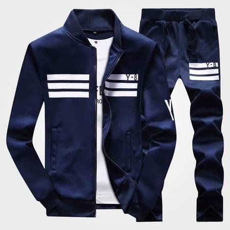 CCZO 秋季长袖套装男装青少年商务运动套装 免烫修身韩版字母T恤潮