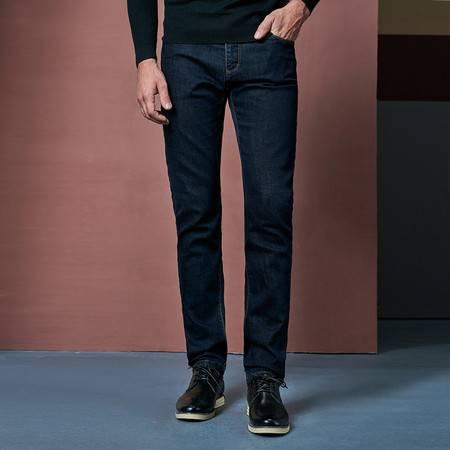 CCZO 秋季弹力男士中腰牛仔裤修身型小直筒牛子裤男青年大码商务长裤子