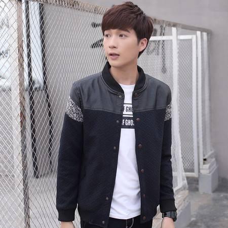 CCZO 新款男士秋季外套韩版拼色夹克衫男装春秋纯棉薄款青年开衫