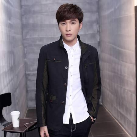 CCZO 韩版青年夹克衫男士立领春秋季薄款时尚修身外套潮流大码男装休闲