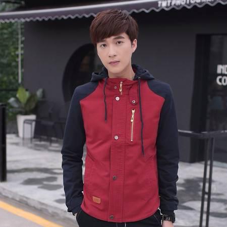 CCZO 秋冬新款韩版修身中长款青少年学生男士休闲风衣潮男装外套夹克