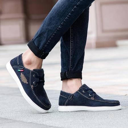 凯王帝 冬季新款男鞋时尚休闲鞋真皮舒适驾车鞋男士加绒单鞋潮流韩版