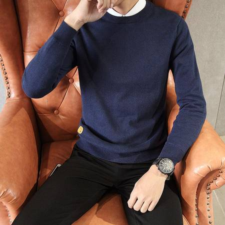 GEEDO 2016秋冬男士毛衣圆领套头青少年韩版男装针织修身毛线外套