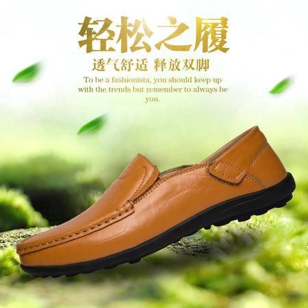 凯王帝 秋季真皮豆豆鞋男士驾车鞋休闲柔软舒适防滑懒人鞋耐磨牛皮皮鞋