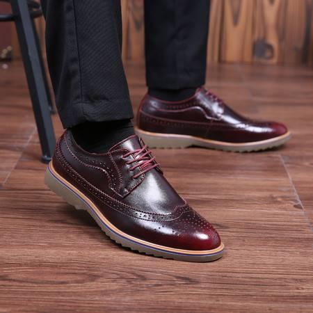 凯王帝 秋季布洛克雕花男鞋商务真皮男士潮鞋复古英伦系带休闲皮鞋巴洛克