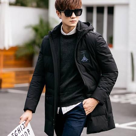 GEEDO 2016冬装新款男士羽绒服男中长款加厚连帽韩版潮流冬季外套