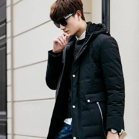 GEEDO 冬季新款中长款过膝加厚羽绒服男青年韩版连帽修身外套羽绒衣潮流