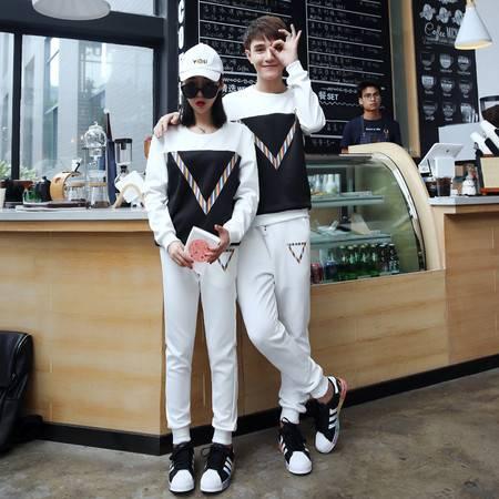 CCZO 卫衣男套头秋季情侣运动服套装青少年户外跑步两件套薄款韩版套装