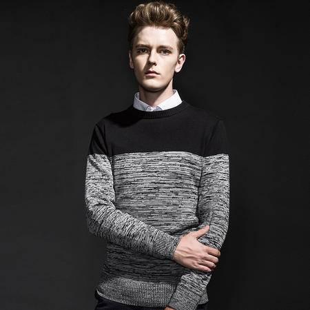 GEEDO 长袖针织套头衫男2016秋新品撞色图腾柔软舒适长袖上衣