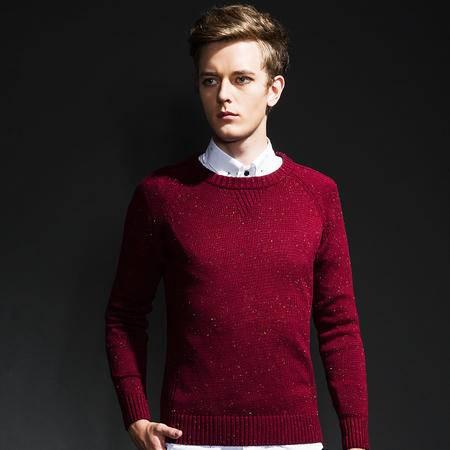 GEEDO 圆领套头毛衣男秋冬款中青年外套商务修身针织衫薄款打底衫