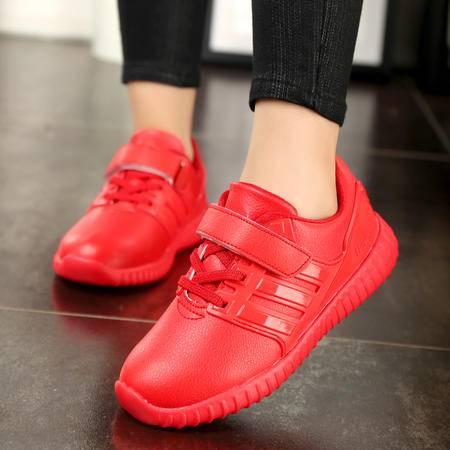 凯王帝 冬季新品休闲鞋儿童鞋女童亲子小红鞋男童运动鞋学生韩版皮鞋