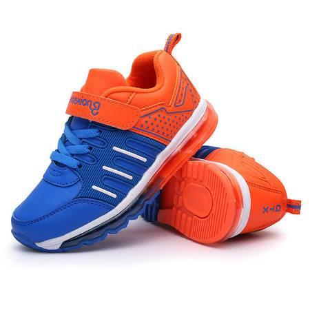 凯王帝 跑步鞋透气男女童中大童鞋气垫革面弹力魔术贴学生运动鞋潮童