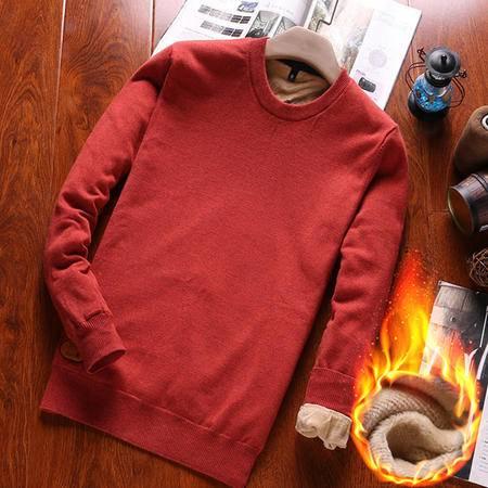 GEEDO 秋冬季加绒纯棉毛衫男圆领打底薄款修身毛衣男士针织衫长袖