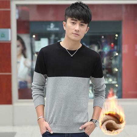 GEEDO 冬季毛衣男加绒韩版学生圆领潮套头线衣男士外套款男装秋季针织衫